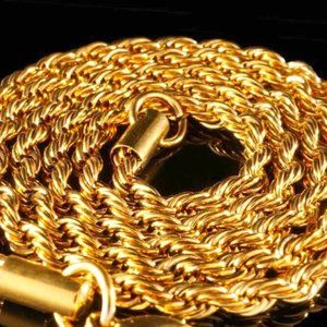 """14k Gold Plated 4mm Stainless Steel 24"""" Rope Chain"""
